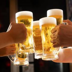 Beer glasses clinking